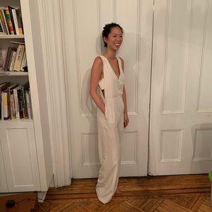 Victoria + Sophia white jumpsuit w/ pockets